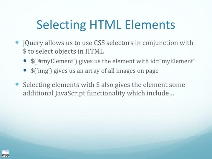 Selecting HTML Elements