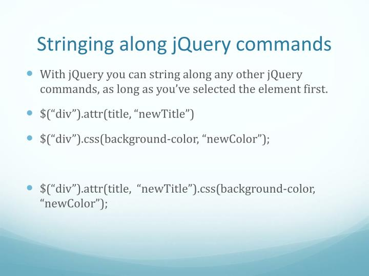 Stringing along jQuery commands