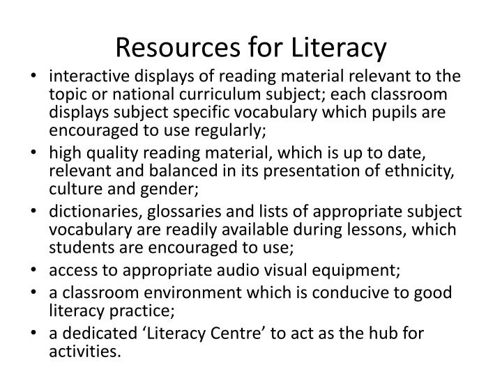 Resources for Literacy
