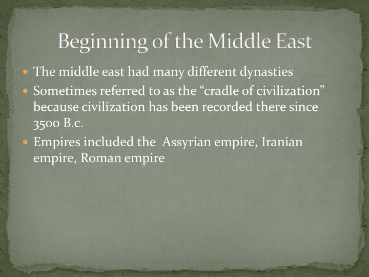 Beginning of the Middle East
