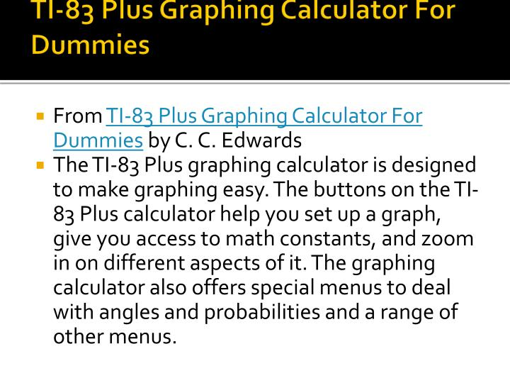 Ti 83 plus graphing calculator for dummies1