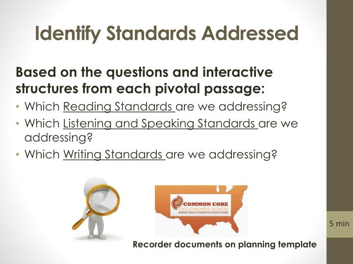 Identify Standards Addressed