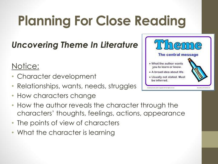 Planning For Close Reading