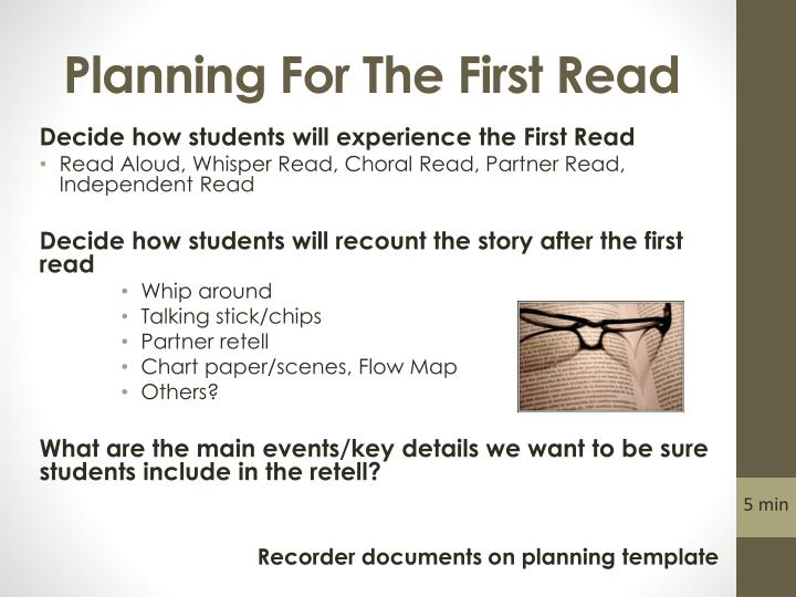Planning For The First Read