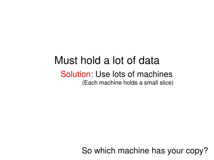 Must hold a lot of data