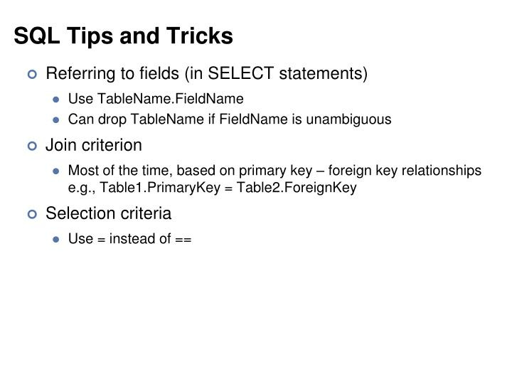 SQL Tips and Tricks