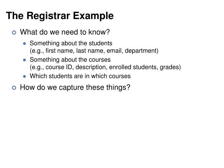 The Registrar Example