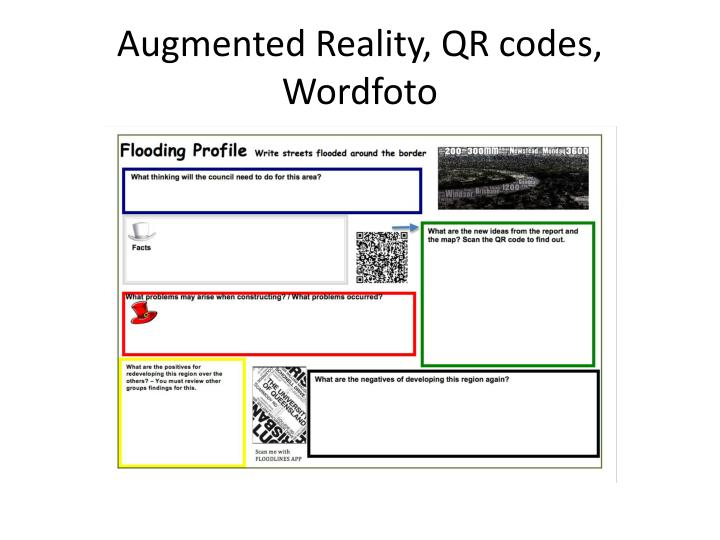 Augmented Reality, QR codes,