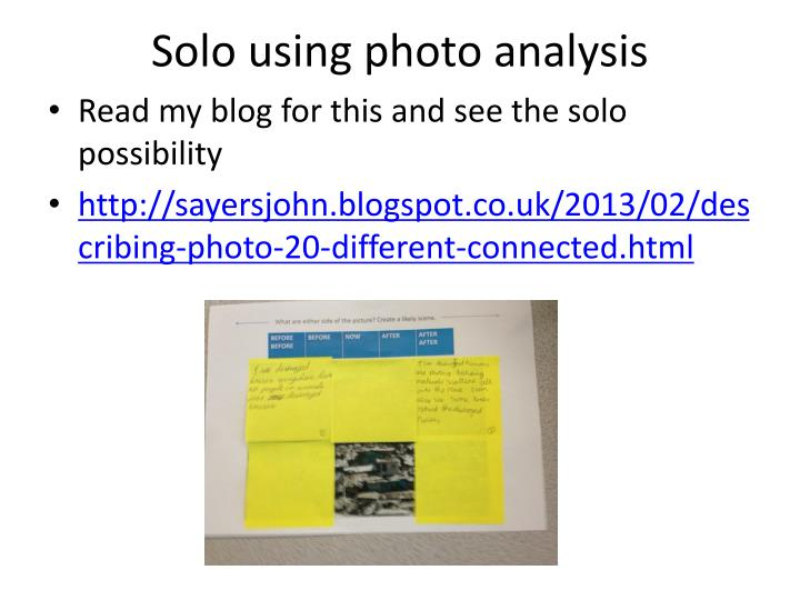 Solo using photo analysis