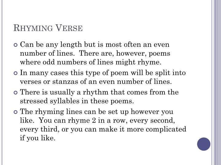 Rhyming Verse