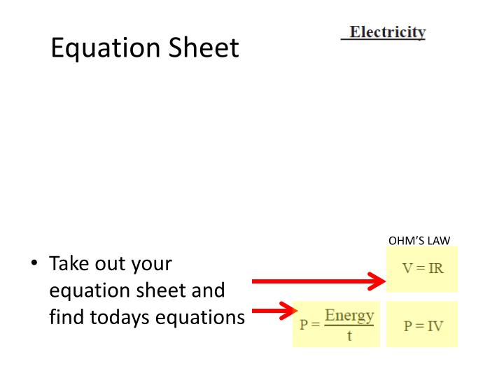Equation Sheet