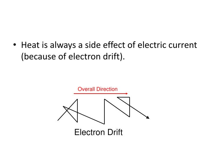 Heat is always a side effect of electric current (because of electron drift).