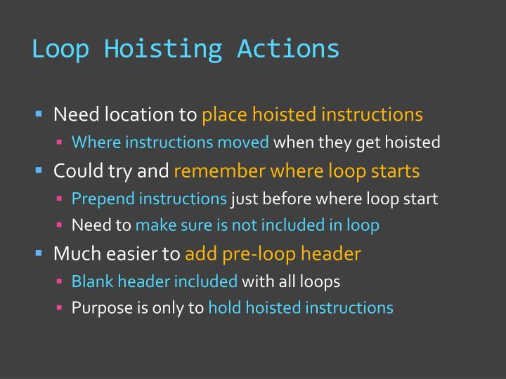 Loop Hoisting Actions