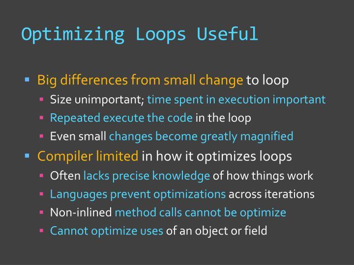 Optimizing Loops Useful