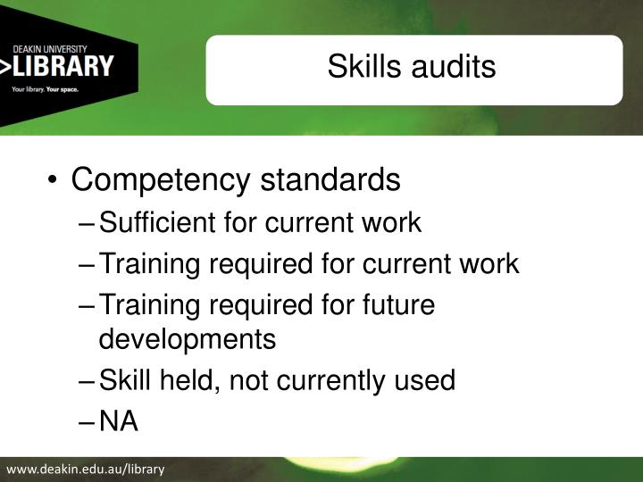 Skills audits