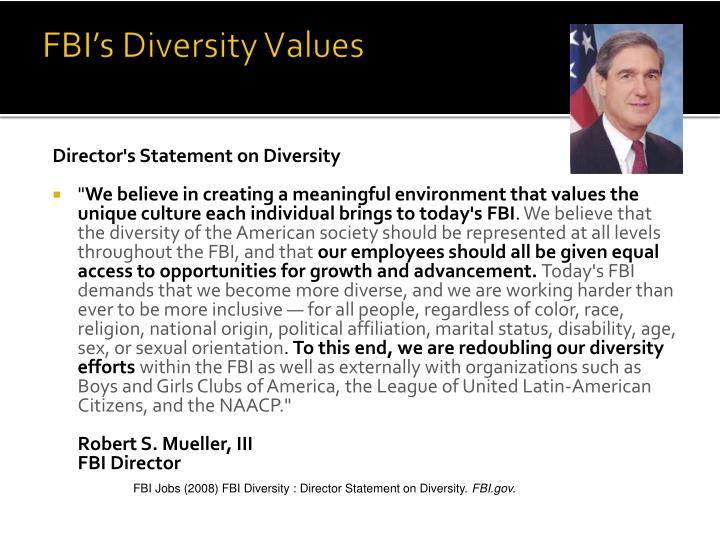 FBI's Diversity Values