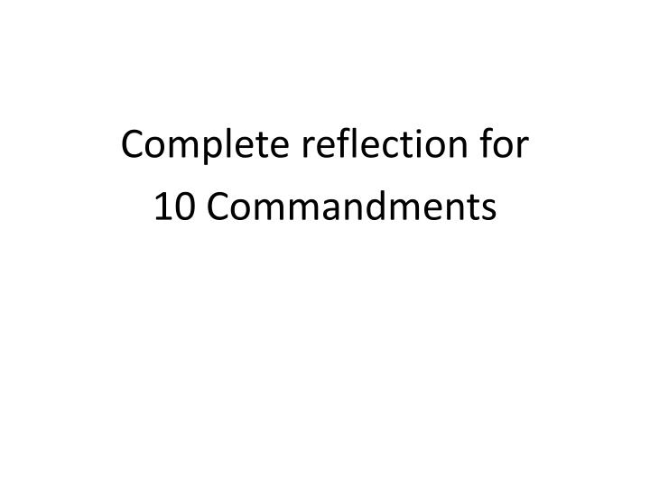 Complete reflection for