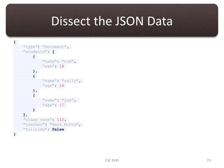 Dissect the JSON Data