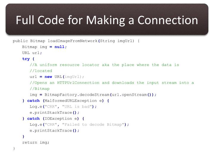 Full Code for Making a Connection