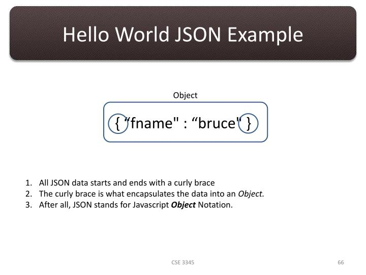 Hello World JSON Example