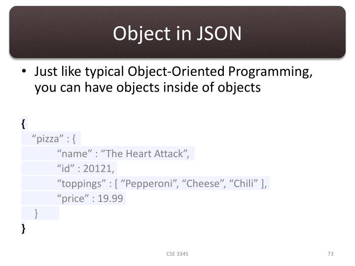 Object in JSON