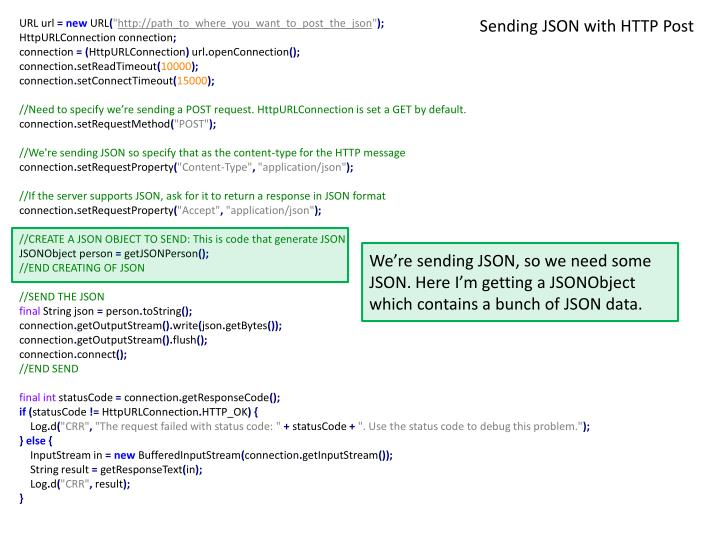 Sending JSON with HTTP Post