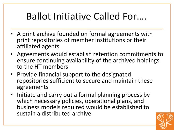 Ballot Initiative Called For….