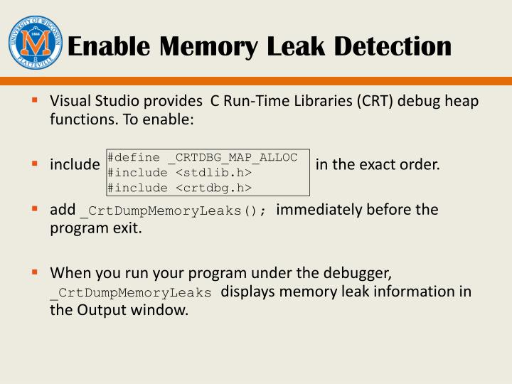 Enable Memory Leak Detection