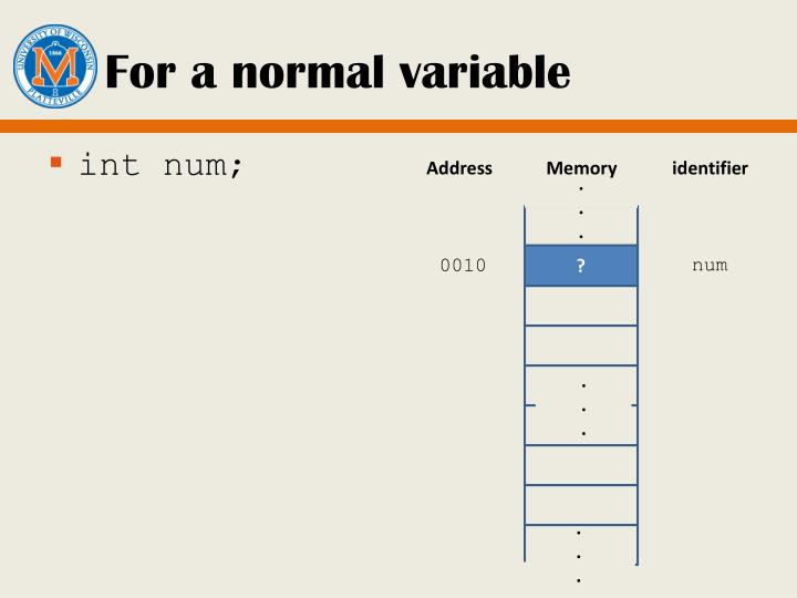 For a normal variable