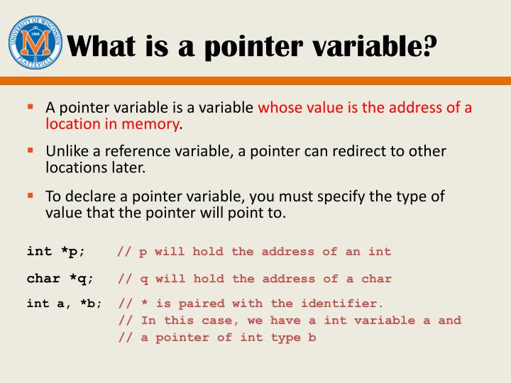 What is a pointer variable?
