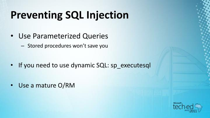Preventing SQL Injection