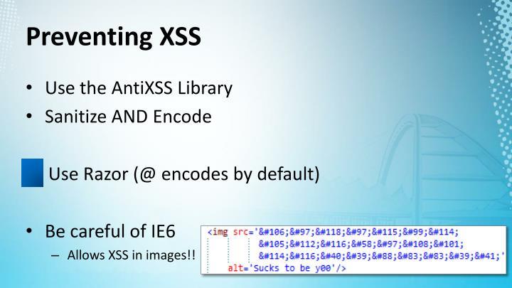 Preventing XSS