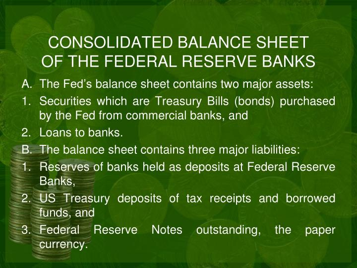 CONSOLIDATED BALANCE SHEET OF THE FEDERAL RESERVE BANKS