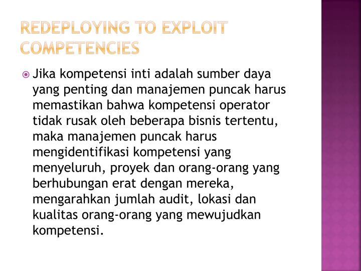 Redeploying to exploit competencies