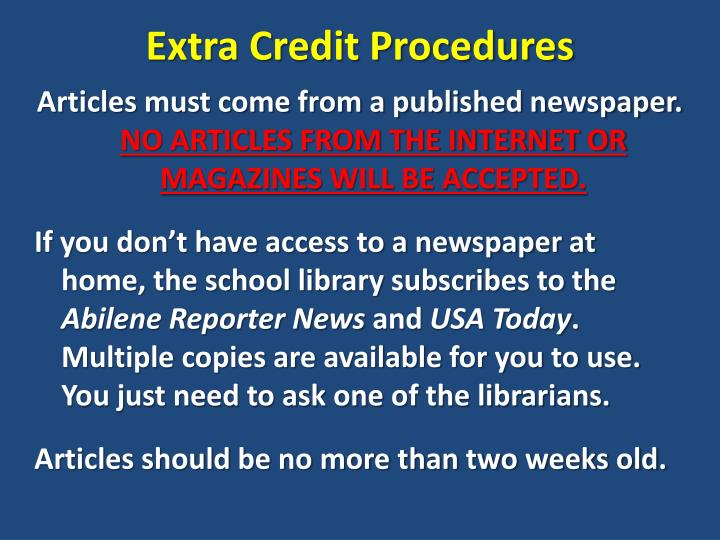 Extra credit procedures1