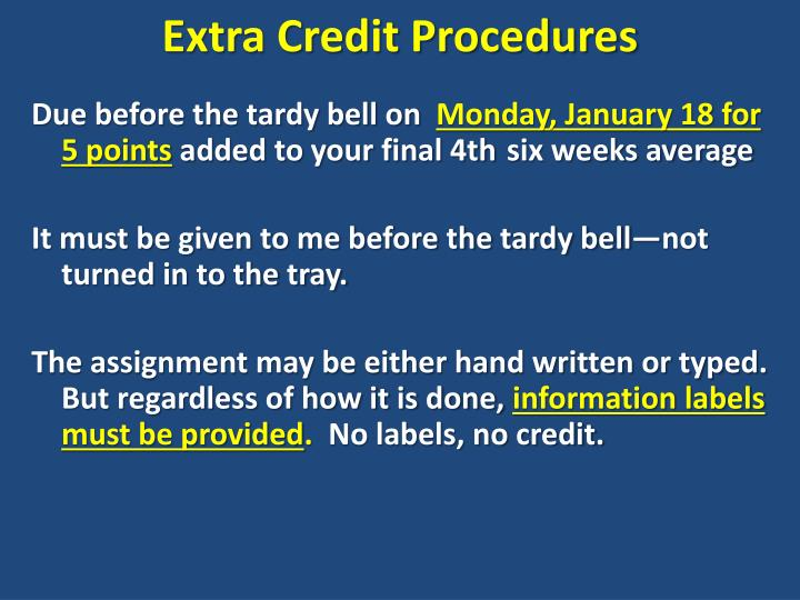 Extra Credit Procedures