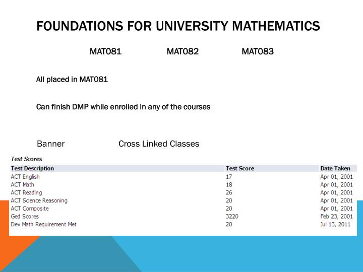 Foundations for university mathematics