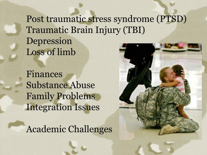 Post traumatic stress syndrome (PTSD)