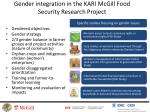 gender integration in the kari mcgill food security research project
