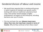 gendered division of labour and income