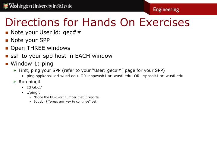 Directions for Hands On Exercises