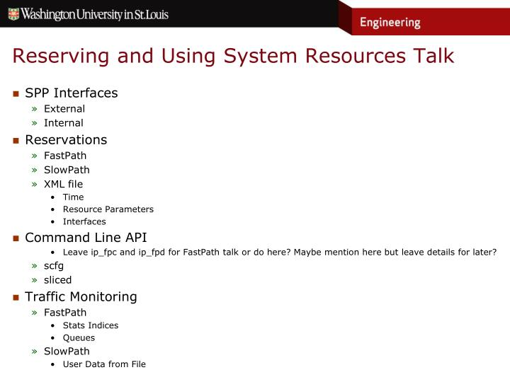 Reserving and Using System Resources Talk