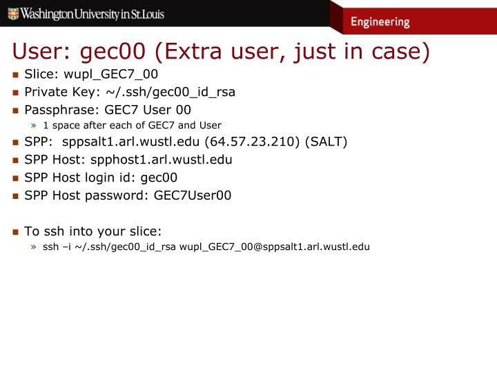 User: gec00 (Extra user, just in case)