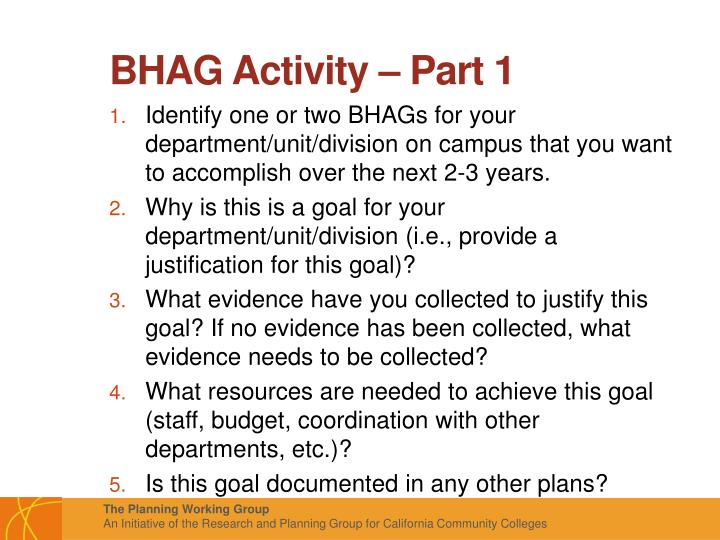 BHAG Activity – Part 1
