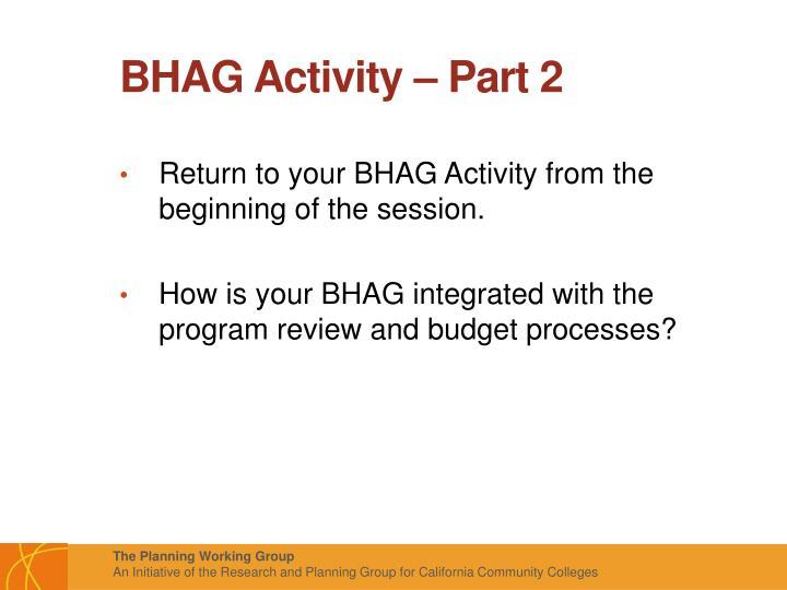 BHAG Activity – Part 2
