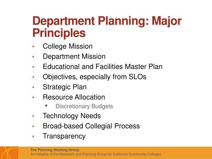 Department Planning: Major Principles