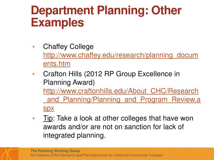 Department Planning: Other Examples