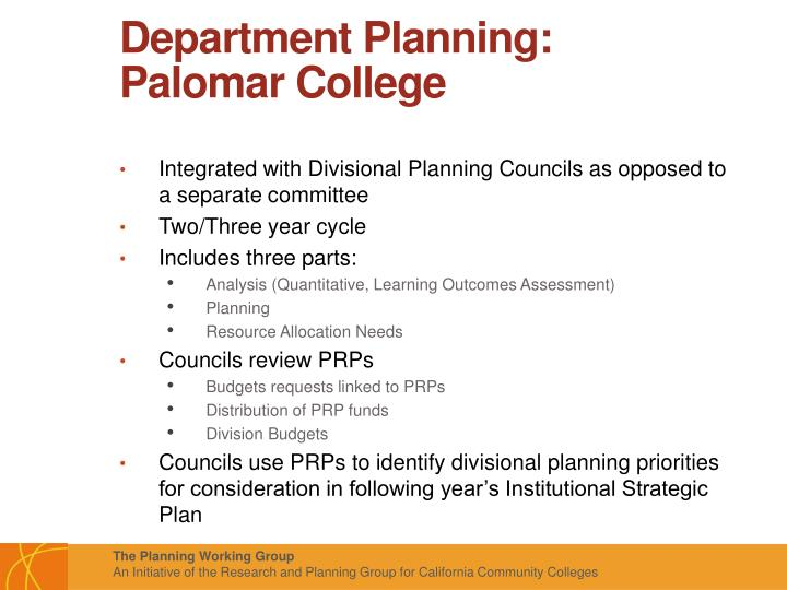 Department Planning: