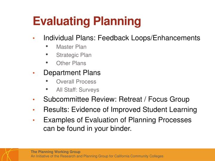 Evaluating Planning