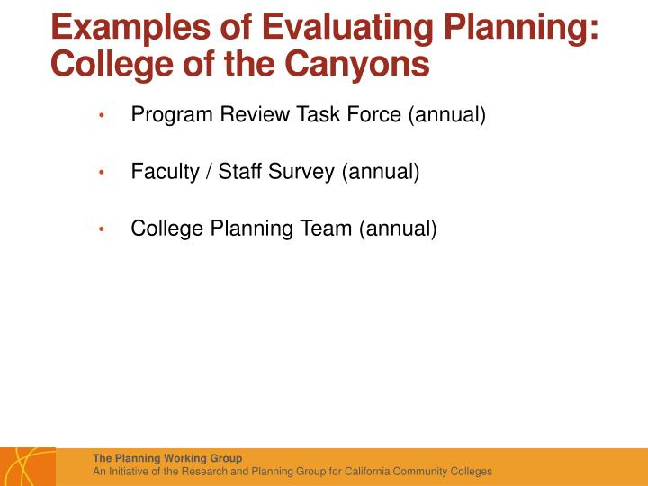 Examples of Evaluating Planning: College of the Canyons